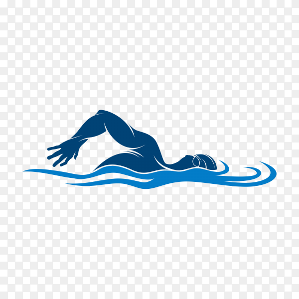 Swimming logo on transparent background PNG