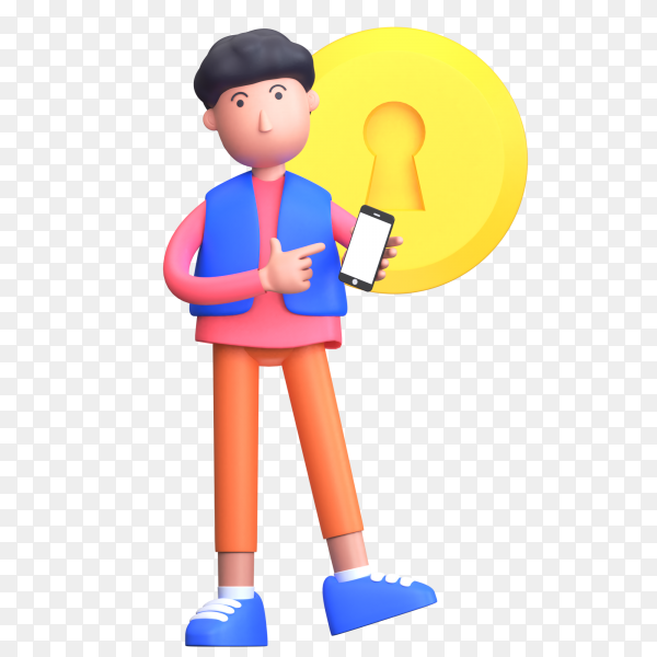 The man showing his phone lock with the concept of a secure smartphone on transparent background PNG