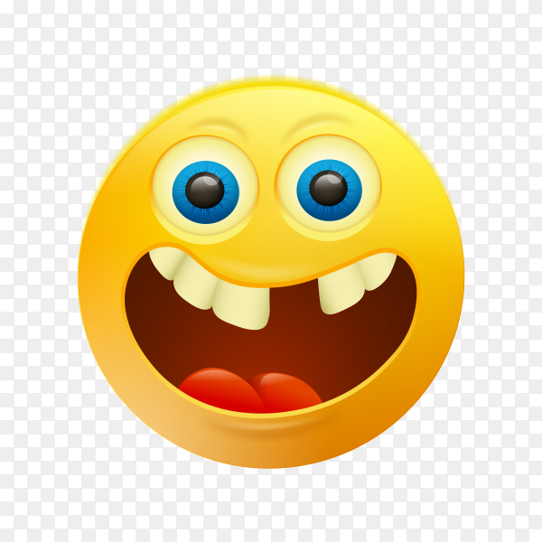Yellow smiley face emoji on transparent background PNG