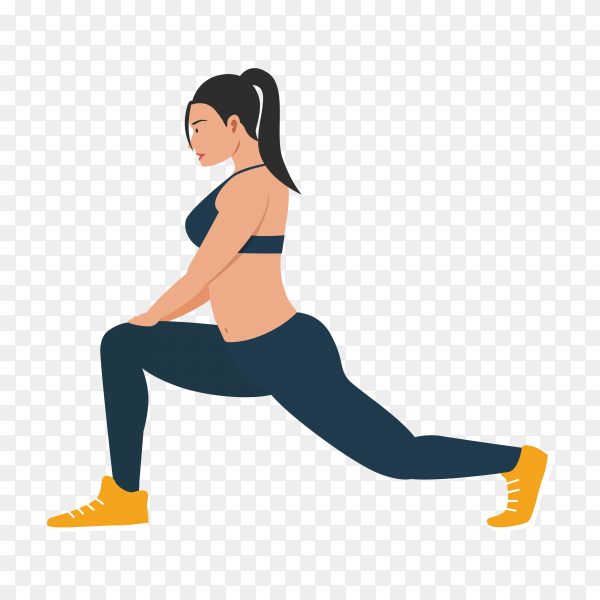Young slim woman doing stretching exercises on transparent background PNG
