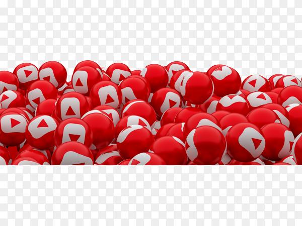 Youtube social media emoji 3d render background, social media balloon symbol on transparent background PNG