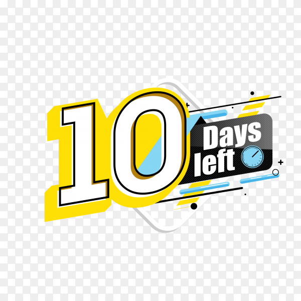 countdown label with limited time badge (10 days left ) on transparent background PNG