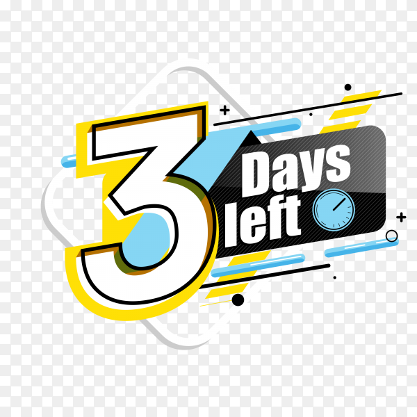 countdown label with limited time badge (3 days left ) on transparent background PNG