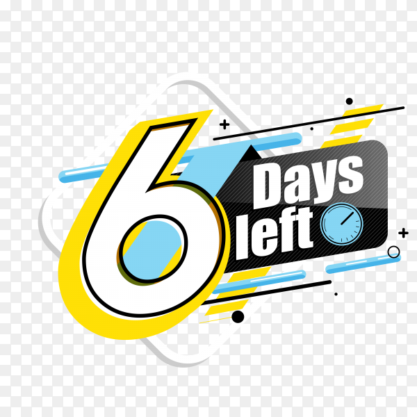 countdown label with limited time badge (6 days left ) on transparent background PNG