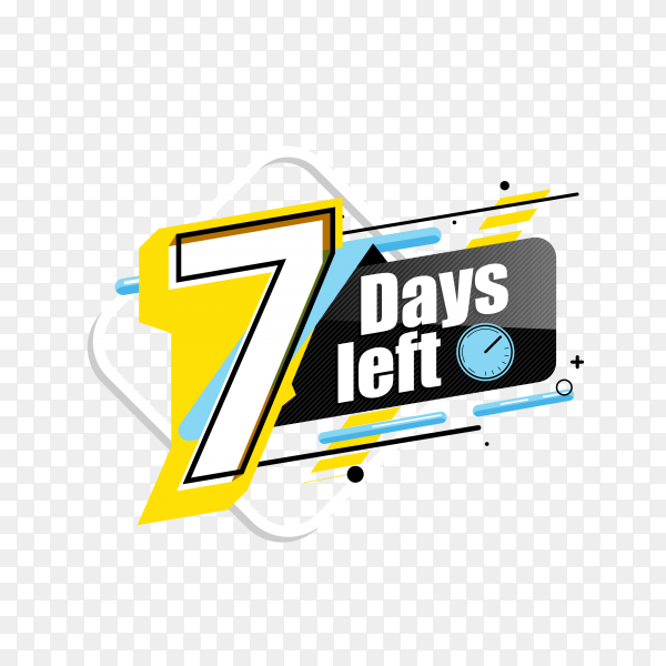 countdown label with limited time badge (7 days left ) on transparent background PNG