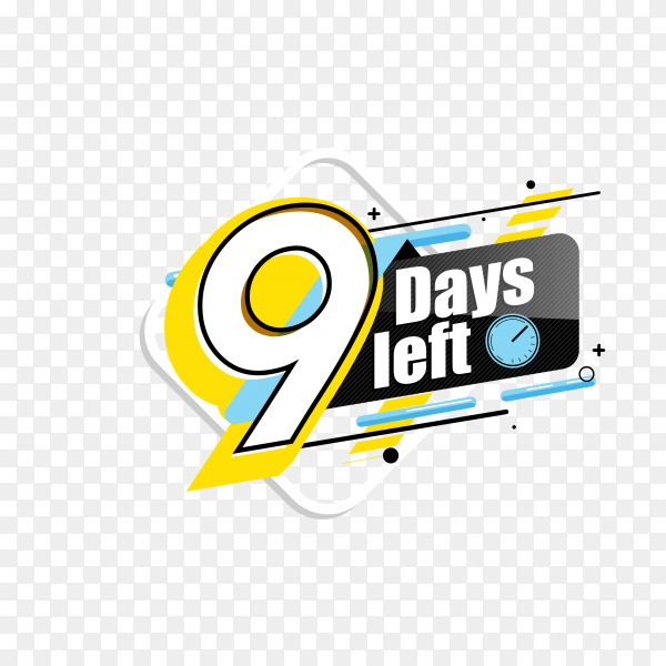 countdown label with limited time badge (9 days left ) on transparent background PNG