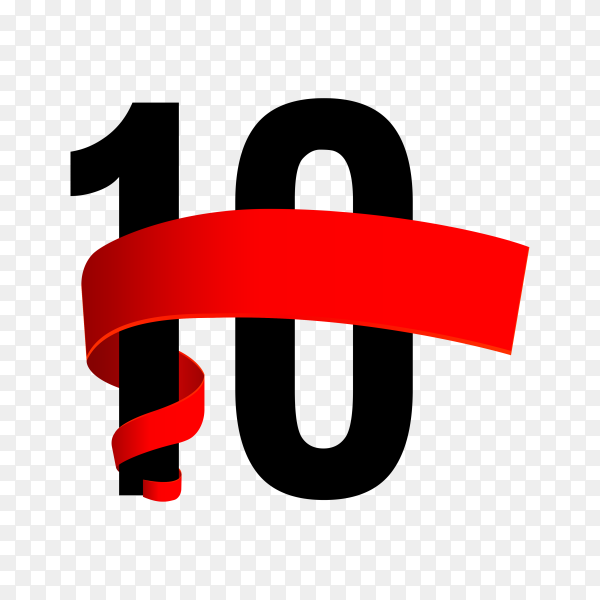 10th anniversary with red ribbon on transparent background PNG