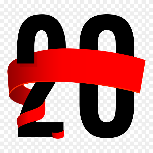 20th anniversary with red ribbon on transparent background PNG