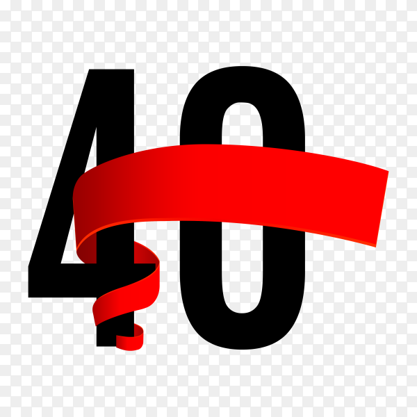 40th anniversary with red ribbon on transparent background PNG