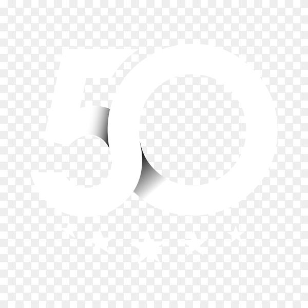 50th anniversary celebration design on transparent background PNG