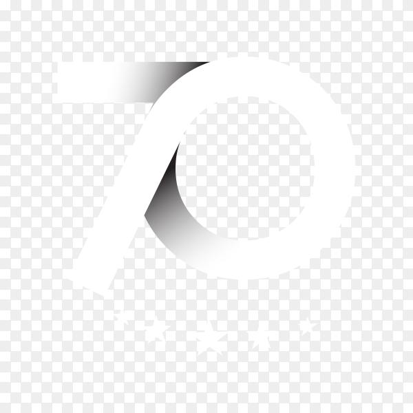 70th anniversary celebration design on transparent background PNG