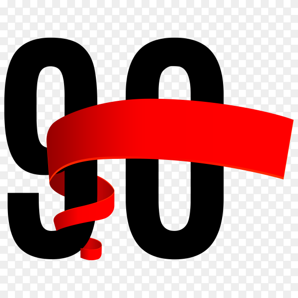 90th anniversary with red ribbon on transparent background PNG