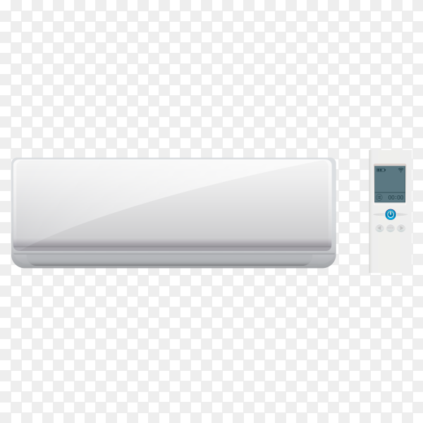 Air conditioner and remote control on transparent background PNG