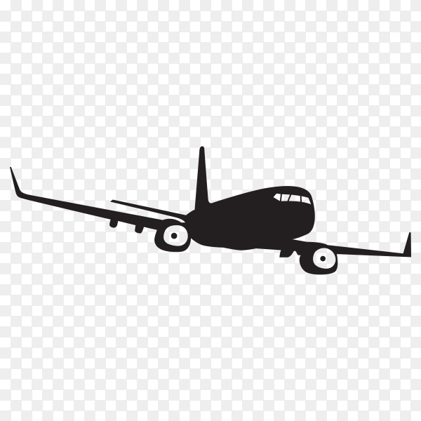 Airplane silhouette illustration on transparent background PNG