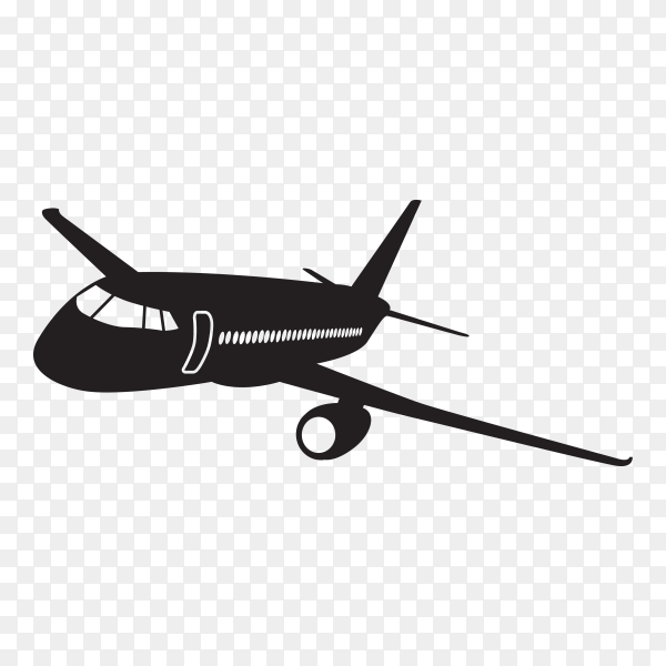 Airplane silhouette isolated on transparent background PNG
