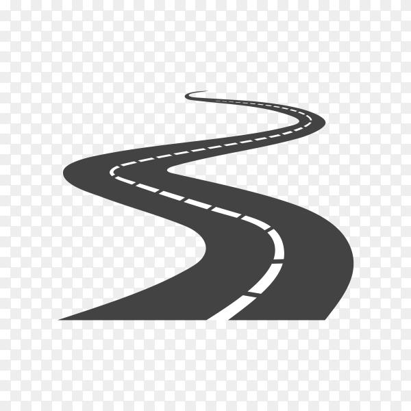 Black curve color road or highway with dividing marking on transparent background PNG