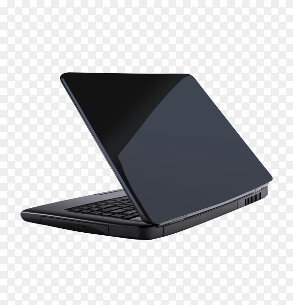 Black laptop isolated on transparent PNG