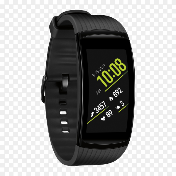 Black smart watch isolated on transparent background PNG