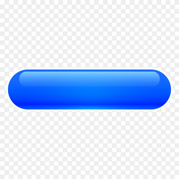 Blue Glossy web button on transparent background PNG