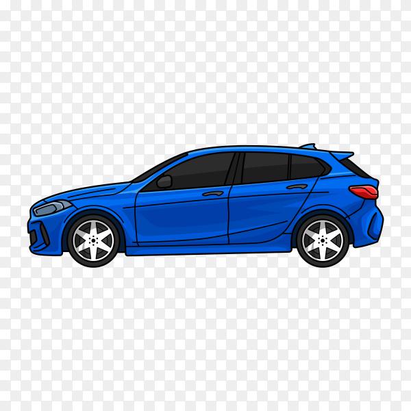 Blue modern car on transparent background PNG