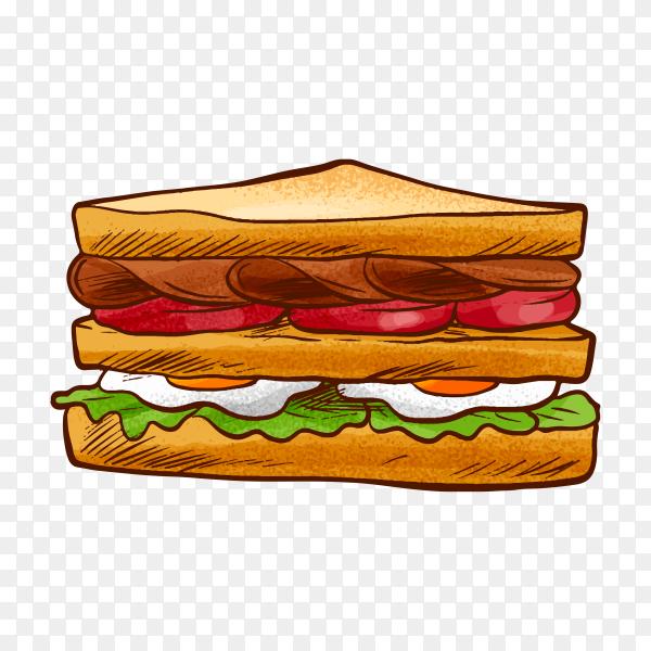 Breakfast sandwich on transparent background PNG