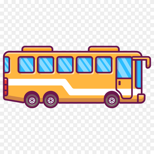 Bus cartoon icon illustration on transparent background PNG