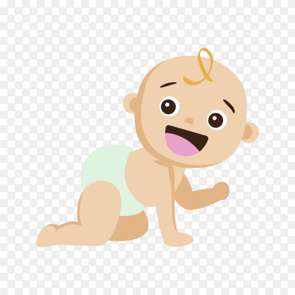 Cartoon baby hand drawn on transparent background PNG