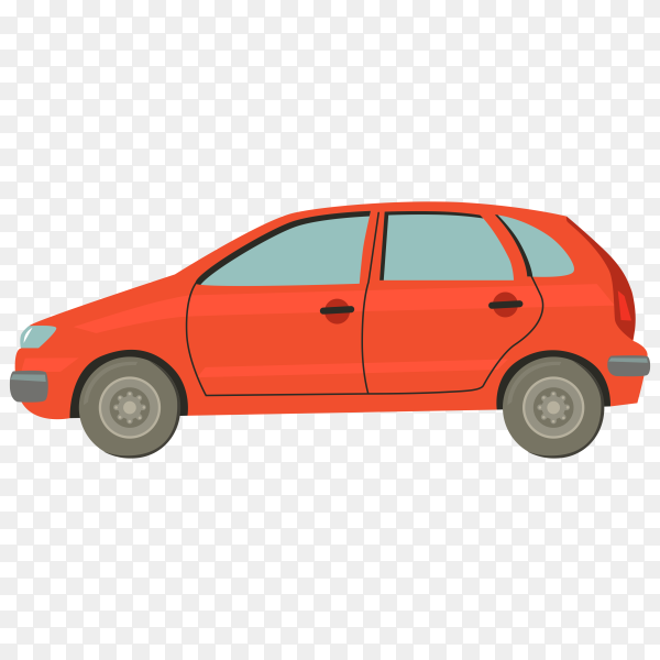 Cartoon car hand drawn on transparent background PNG