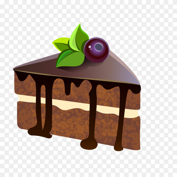 Chocolate cake on transparent background PNG
