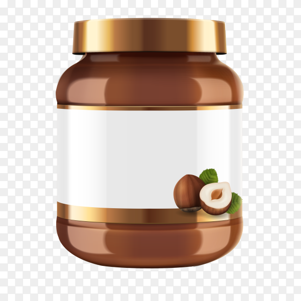 Chocolate spread  jar with blank label isolated on transparent background PNG