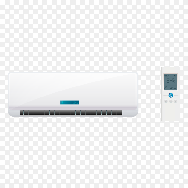 Climate system with illustration of air conditioner on transparent background PNG