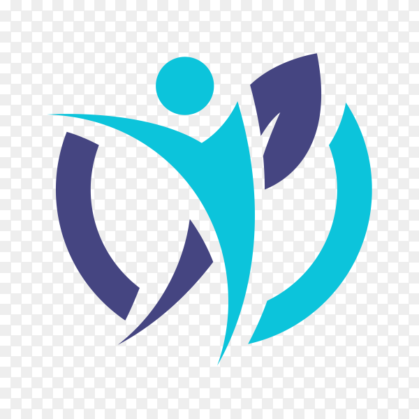 Creative physiotherapy logo illustration on transparent background PNG