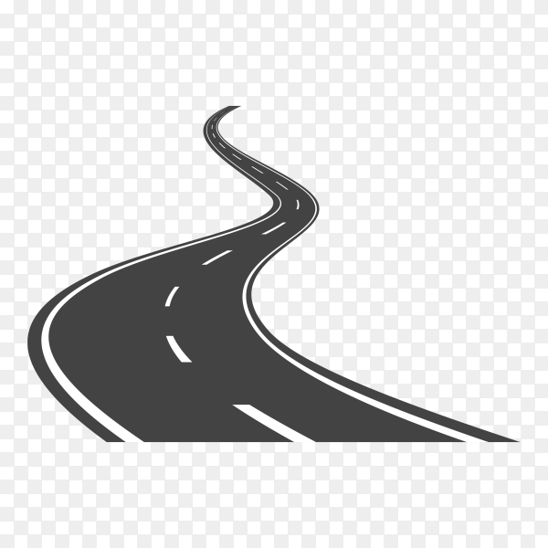 Curved road . asphalt road or way and curve road highway on transparent PNG