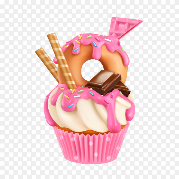 Delicious cupcake on transparent background PNG