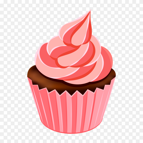Delicious pink cupcake on transparent background PNG