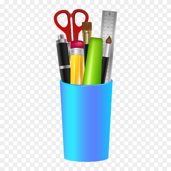 Different stationery items in blue plastic glass composition on transparent background PNG