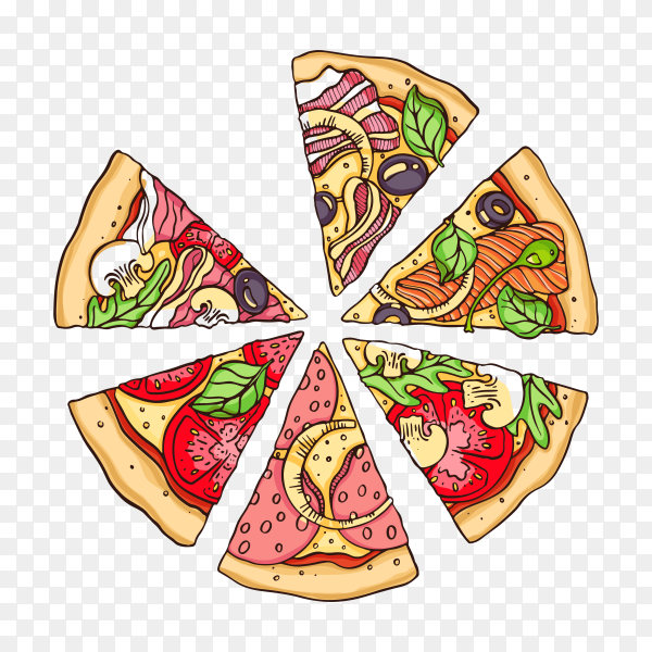 Few slices pizza with various stuffing on transparent background PNG