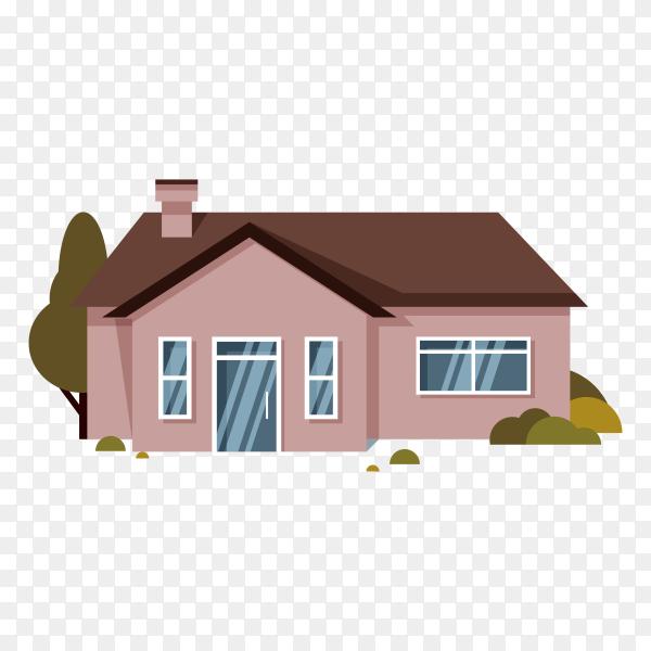 Flat design house illustration on transparent background PNG