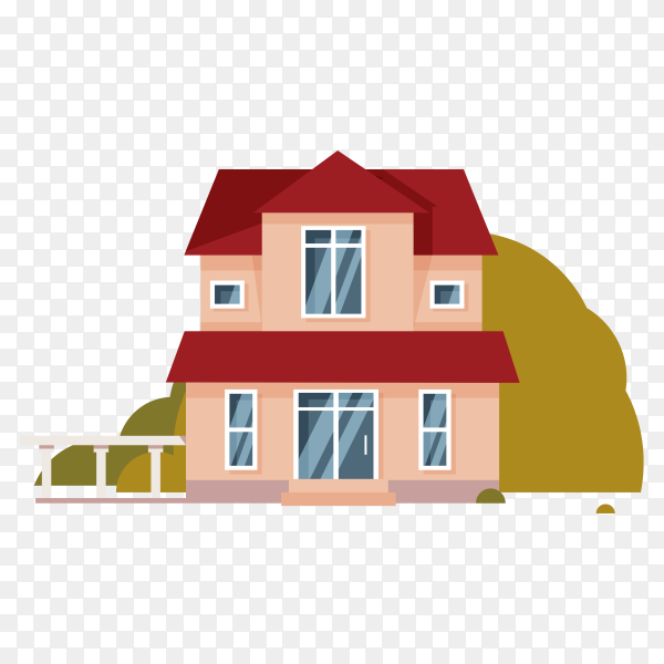 Flat design house isolated on transparent background PNG