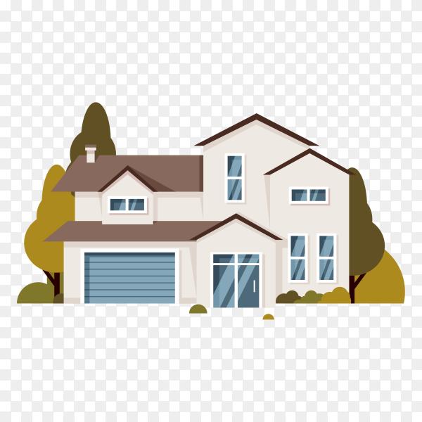 Flat design house on transparent background PNG