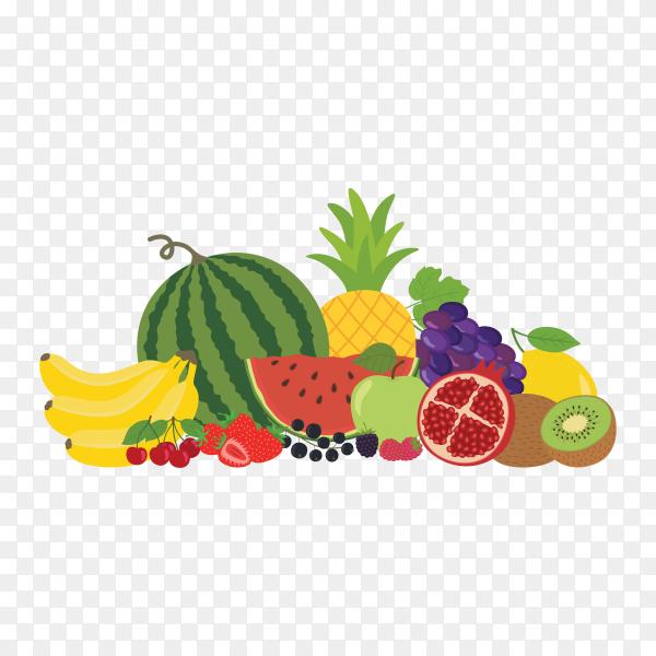 Fruits and vegetables on transparent background PNG