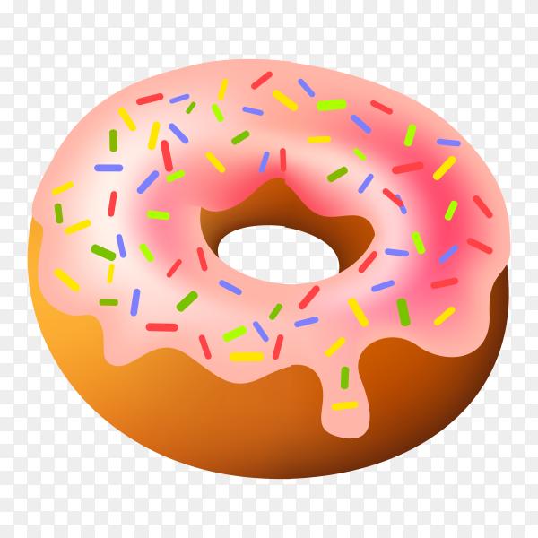 Glazed pink doughnut with sprinkles on transparent background PNG