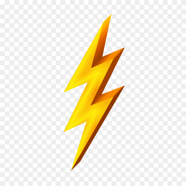Gold lightning icon isolated on transparent background PNG