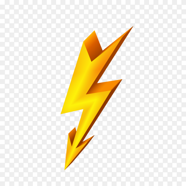 Gold lightning icon on transparent PNG
