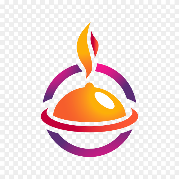 Gradient catering logo template on transparent background PNG