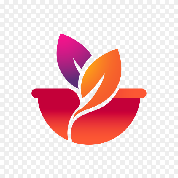 Gradient restaurant logo design template on transparent background PNG