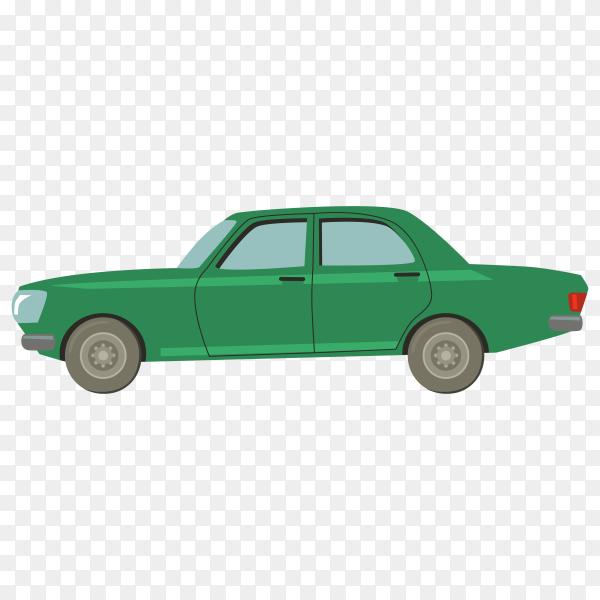 Green cartoon car on transparent background PNG