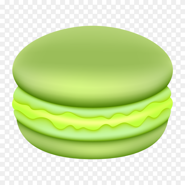 Green macaroon with cream on transparent background PNG
