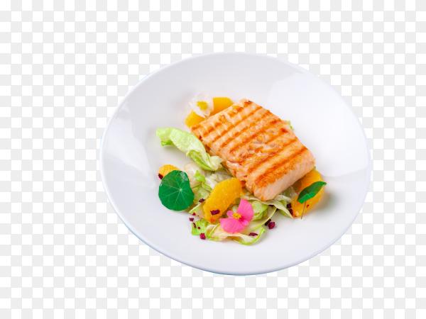 Grilled salmon fillet steak with salad garnish on transparent background PNG