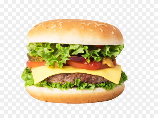 Hamburger with beef, tomato and lettuce on transparent background PNG